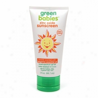 Green Babies Zinc Oxide Spf 30 Sunscreen Sweely Scented Upon Tangerine Essential Oil,, Sweetly Sdented With Tangerine Oil