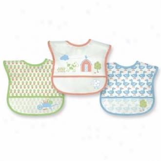 Flourishing Sprouts Waterproof Bibs, 6-12 Months+, Assorted Farm Desigs