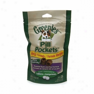 Greenies Pill Pockets Allergy Formula, 25 Tablets, Roasted Duck And Pea Formula