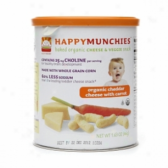 Happy Mnchies Baked Organic Cheese & Veggie Snack, Cheddar Cheese With Carrots