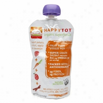 Happy Tots Organic Superflods, Sweet Potato, Carrot, Apple & Cinnamon