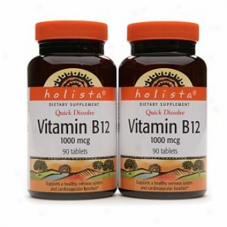 Holista Quick Dissolve Vitami nB12 1000 Mcg, Tablets, Twin Pack (90ea Bottle)
