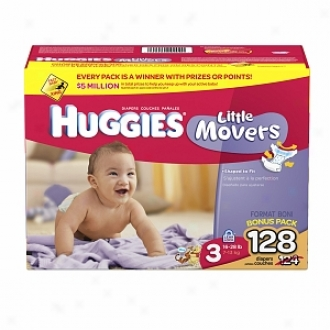 Huggies Little Movers Diapers, Giant Pack, Size 3, 16-28 Lbs, 128 Ea
