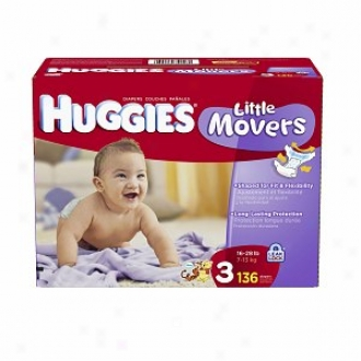 Huggiex Inconsiderable Movers Diapers, Giant Pack, Size 3, 16-28 Lbs, 136 Ea