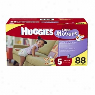 Huggies Little Movers Diapers, High Count Junior Pack, Size 5, 27+ Lbs, 88 Ea