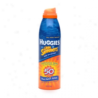 Huggies Little Swimmers Sunscreen, Clear Continuous Spray, Spf 50, Livid Melon Splash