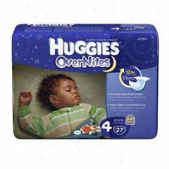 Huggies Overnites Diapers, Jumbo Pack, Size 4, 22-37 Lbs, 27 Ea