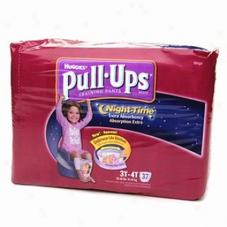 Huggies Pull-ups Night Time Training Pants For Girls, Mega Pack, Sizing 3t-4t, 37 Ea