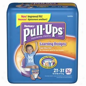 Huggies Pull-ups Training Pants For Boys With Lewrning Designs, Jumbo Pack, Size 2t-3t, 26 Ea