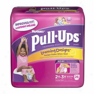 Huggies Pull-ups Training Pants For Girls With Learning Designs, Jumbo Pack, Size 2 2t-3t, 26 Ea