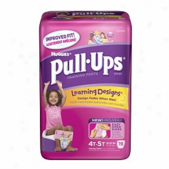 Huggies Pull-ups Training Pants For Girls With Learning Designs, Jumbo Pack, Size 2 4t-5t, 19 Ea