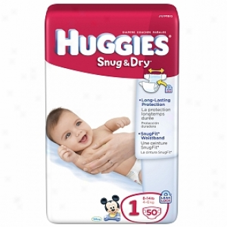 Huggies Snug & Dry Diapers, Jumbo Pack, Size 1, 8 To 14 Lbs, 50 Ea