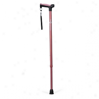 Hugo Adjustable Derby Cane With Reflective Strap, Rose