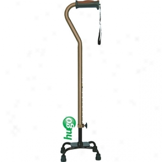 Hugo Adjustable Quad Cane For Right Or Left Hand Use, Small Base, Cocoa