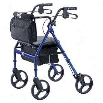 Hugo Adjustable Rollator With Seat, Backrest And Load Bag, Blue