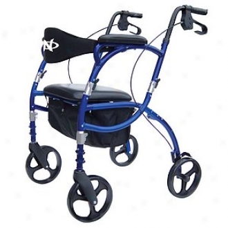 Hugo Navigator Combination Portable Rolling Walker + Transport Chair, Blue