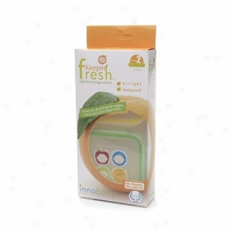 Innobaby Keepiin' Fresh Baby Food Storage Dis~, Square Stage 2, Ysllow & Green