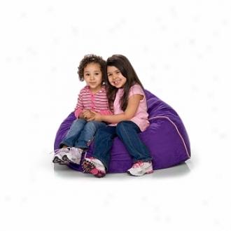 Jaxx Club Jr Foam Filled Kid's Beanbag Chair, Grape Microsuede