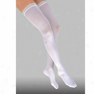 Jobst Anti-embolism Thigh Length Closed Toe Stocking, White, Medium Regular