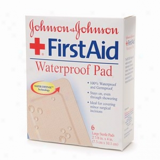 Johnson & Johnson First Aid Sterile Waterproof Pad, 2 7/8 In. X 4 In., Large