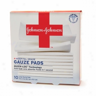 Johnson & Johnson Hospital Grade Gauze Pads, Large Steriel Pads, 4 In X 4 In