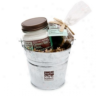 Joyful Bath Co Lil Soap & Salt Bucket Gift Set, Recharging Peppermint Mix - Green Tea Glee