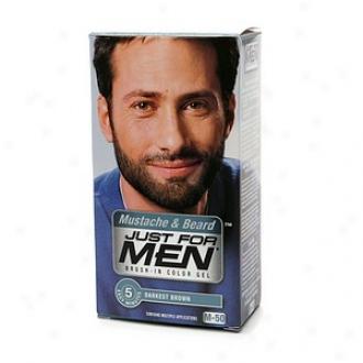 Just For Men Brush-in Redness Gel For Mustache & Beardd, Darkest Brown M-50
