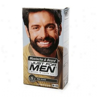 Just For Men Brush-in Color Gel For Mustache, Beard & Sideburns, Real Black M-55