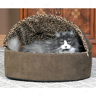 K & H Manufacturing Thermo-kitty Bed Deluxe Hooded Small Tan Leopard 16  4w