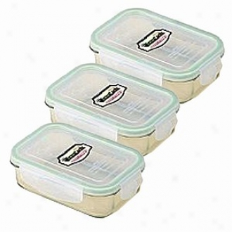 Kinetic Go Green Glasslock 14 Ounce Rectangular Storage Container 3 Pack