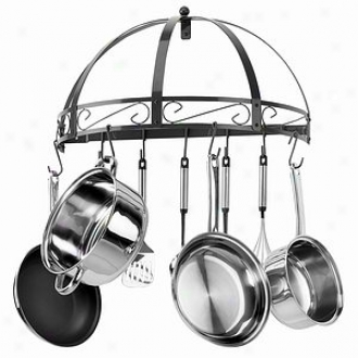 Kinetic Pot Rack, Semi Circel 12 S Hooks Black WroughtI ron