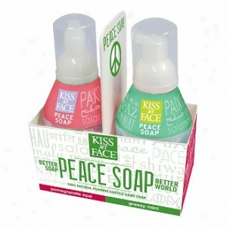 Kiss MyF ace Peace Soap, 100%  Natural Foaming Castille Index Soap, Gift Set, Pomegranate Acai/grassy Mint