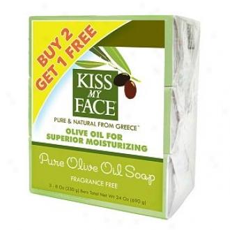 Kiss My Face Pure Olive Oil Bars Bonus Pack, 8 Oz Bars, Fragrance Free