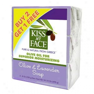 Kiss My Face Pure Olive Oil Bars Bonus Pack, 8 Oz Bars, Olive & Lavender