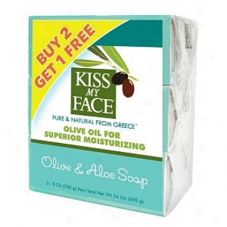 Kiss My Face Pure Olive Oil Bars Bonus Pack, 8 Oz Bars, Olive & Aloe