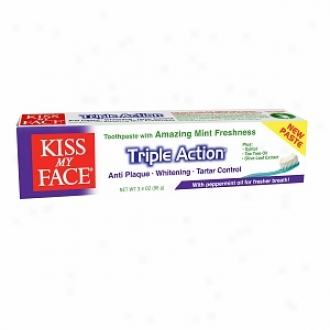 Kiss My Face Triple Action Fluoride Free Toothpaste, Amazing Mint Freshness