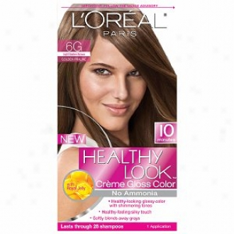 L'oreal Healthy Look Creme Gloss Color, Light Golden Brown Golden Praline 6g