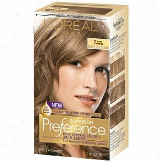 L'oreal Preference Fade Defying Color ∓ Shine System, Permanent, Dark Blonde 7