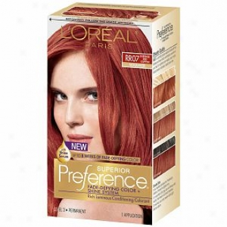 L'oreal Prefference Fade Defying Color & Shine System, Permanent, Intense Red Copper Rr-07