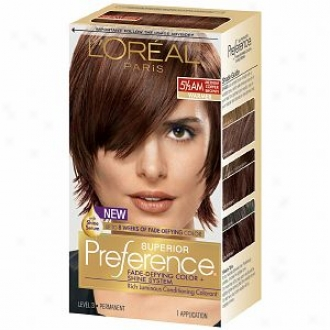 L'oeral Preference Fade Defying Color & Shine System, Permanent, Medium Amber Copper Brown 5 1/2 Am