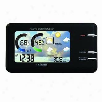 La Crosse Technloogy Weather Station, Lcd Color Wireless, Black Model Ws-450b