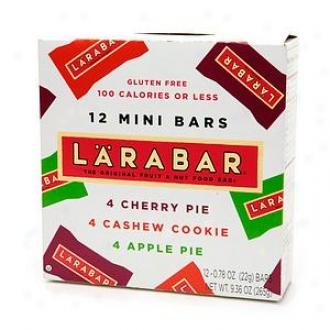 Larabar 12 Mini Bars, Assorted, Cherry, Cashew Cookie &  Apple Pie