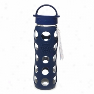 Lifefactory Glass Water Bottle With Solicone Sleeve, 22 Oz, Midnight Blue