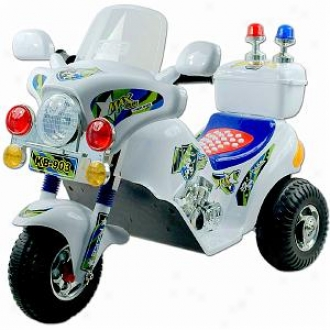 Lil' Rider Police Motorcycle Battery Operated  White Ages 2-4