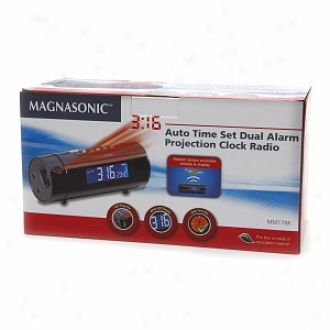 Magnasonic Auto Time Set Dual Alarm Projection Clock Radio Mm178k