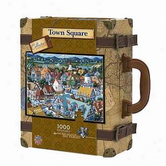 Masterpieces Puzzles Collector9s Edition Town Square Suitcase Puzzle: 1000 Pc Ages 10 And Up