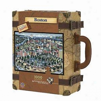 Masterpieces Puzzles Explore America Boton Suitcase Puzzle: 1000 Pc Ages 10 And Up