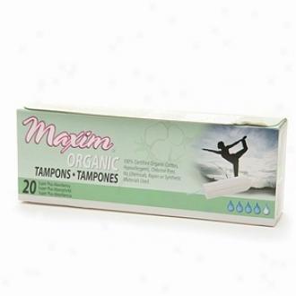 Maxim Hygiene Products Organic Non Applicator Tampon, Super Plus, 20 Ea