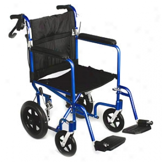 Medline Deluxe Aluminum Transport Wheelchair With Loop Brakes, Bule