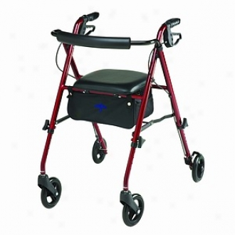 Medline Walker, Rolling With Seat, Lightweight Burgandy 10lb